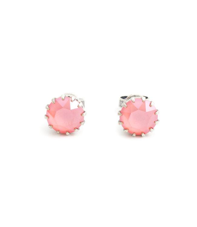 Krikor Verzilverde oorknopjes met 9 mm roze kristal