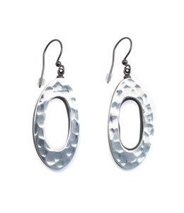 Culture Mix Ovale houten oorbellen zilver kleurig