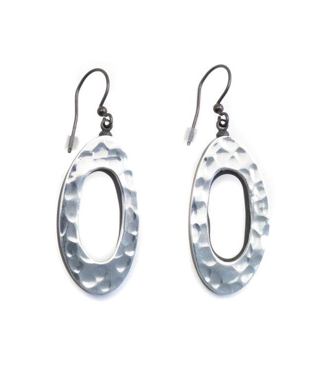 Culture Mix Ovale houten oorbellen in zilver kleur