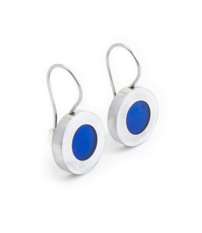 Culture Mix Ronde oorbellen blauw parelmoer