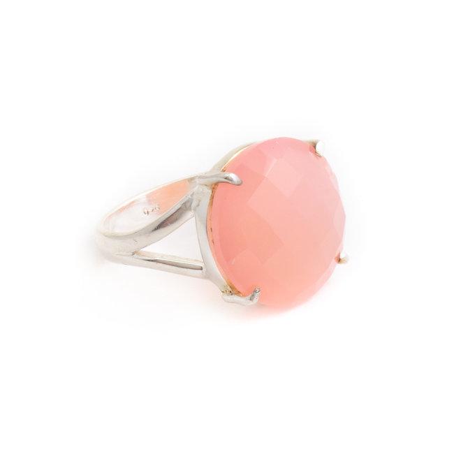 Aurora Patina Zilveren ring roze chalcedoon