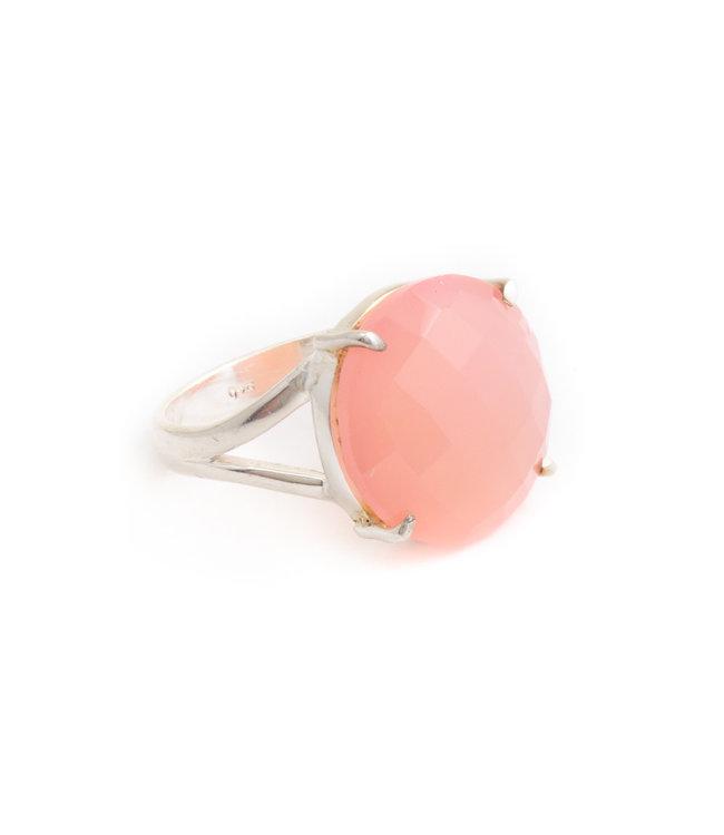Aurora Patina Zilveren ring met rozenkwarts