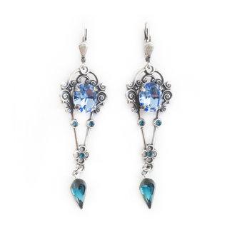 Art nouveau stijl oorbellen blauw  kristal