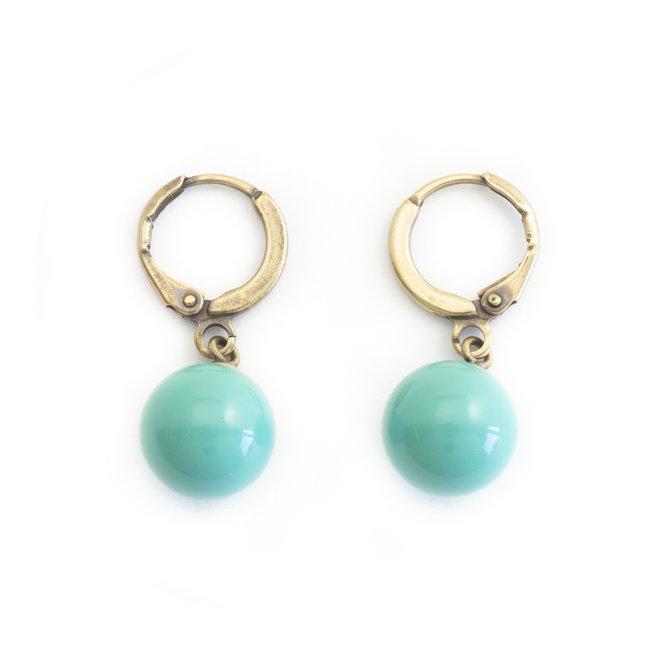 Krikor Creool oorbellen jade pearls verguld
