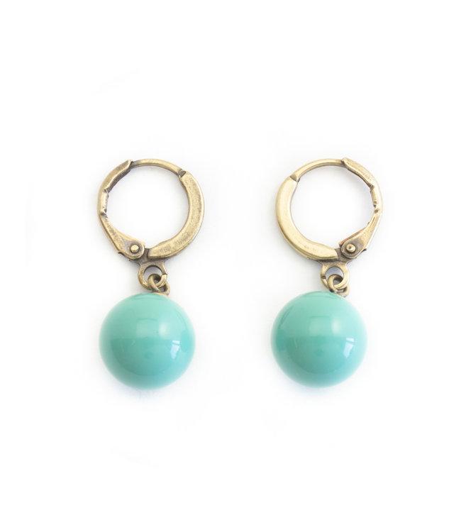 Krikor Creool oorbellen met Swarovski jade pearls