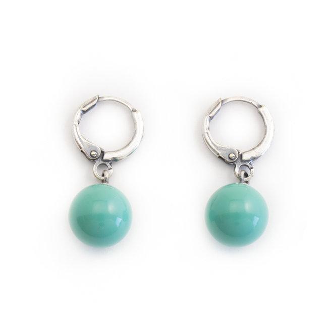 Creool oorbellen met Swarovski jade pearls