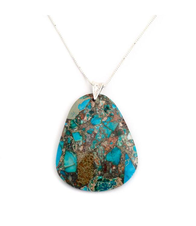 Aurora Patina Zilveren hanger met bruin turquoise siersteen
