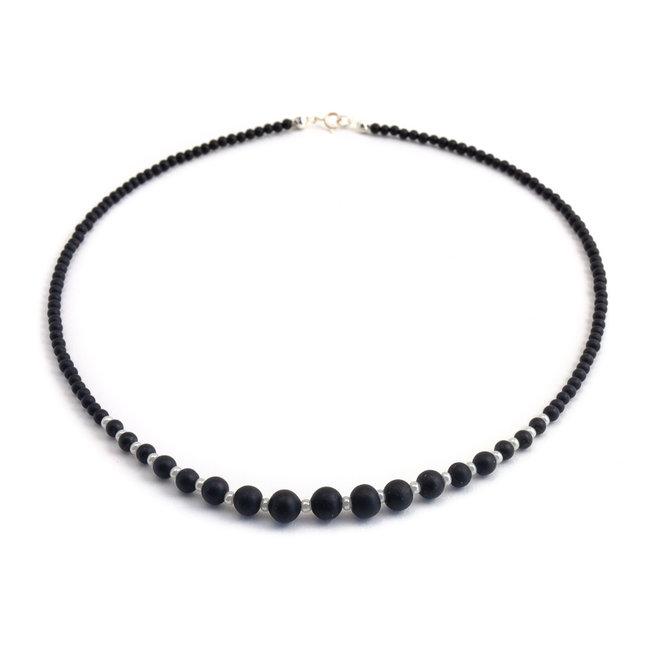 Zwart onyx collier met verloop verzilverd