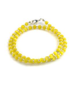Aurora Patina Wikkelarmband met gekleurde gele tijgeroog 4 mm