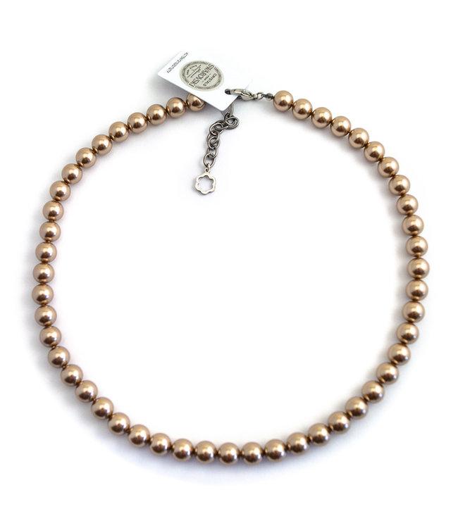 Krikor Licht bruine parel ketting van 8 mm bronze pearl