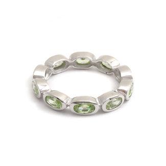 Aurora Patina Zilveren ring 10 peridot edelstenen