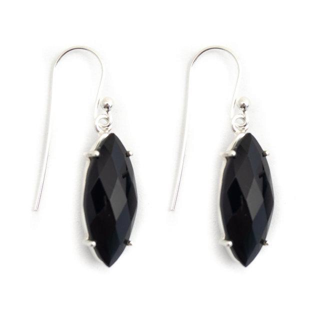 Aurora Patina Zilveren oorbellen zwarte onyx