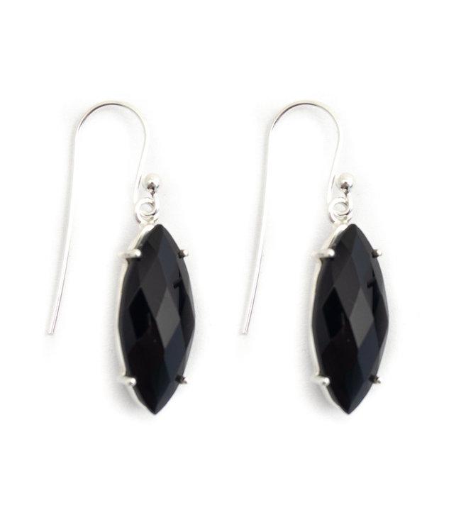 Aurora Patina Zilveren oorbellen met zwarte onyx