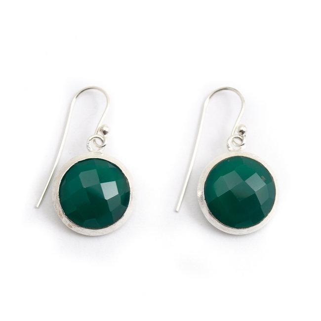 Aurora Patina Zilveren oorbellen groene chalcedoon