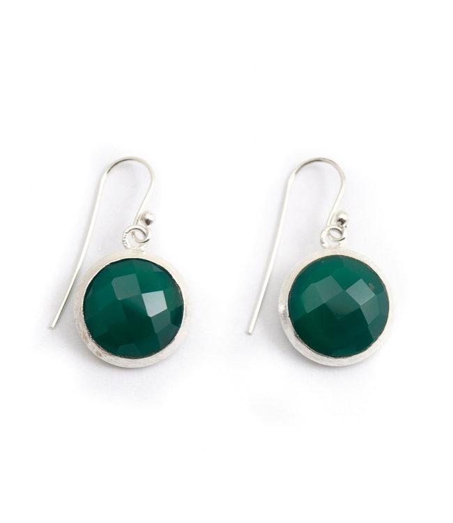 Aurora Patina Zilveren oorbellen met groene chalcedoon