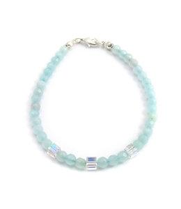 Aurora Patina Armband met aquamarijn en kristal