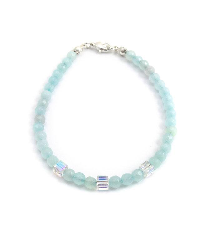 Aurora Patina Armband met blauwe aquamarijn en kristal