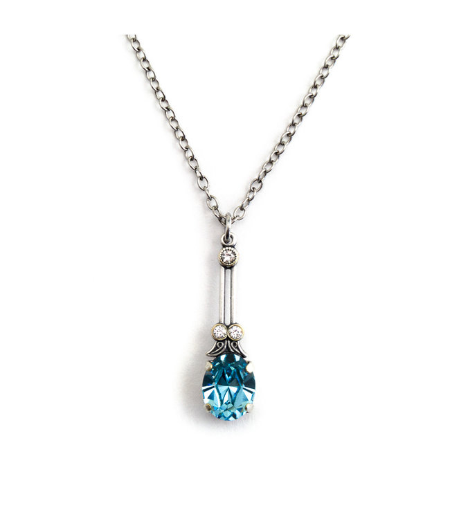 Krikor Halsketting met licht blauw kristal