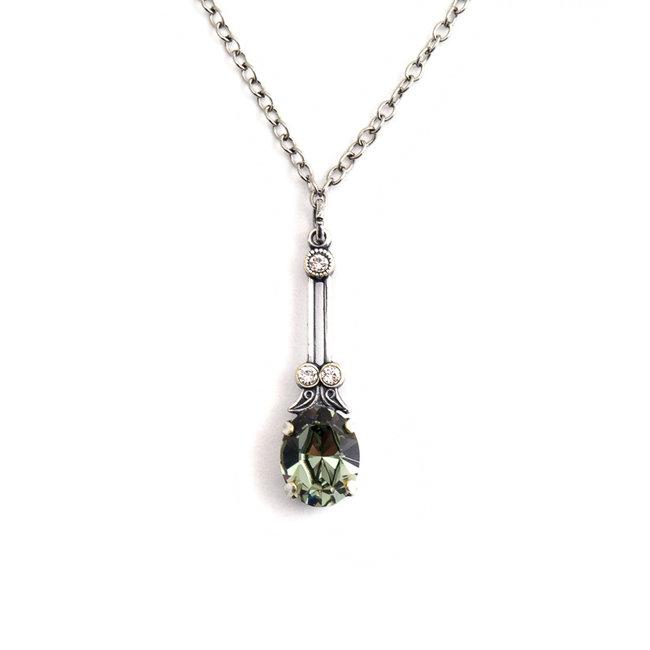 Halsketting met groen grijs kristal