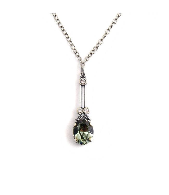 Krikor Halsketting met groen grijs kristal