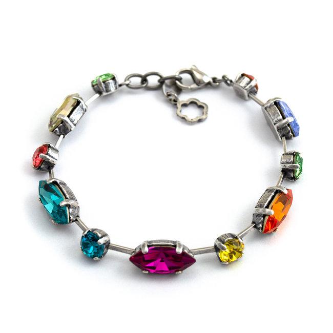 Meer kleurige armband met Swarovski kristallen