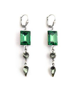 Krikor Lange groene oorbellen kristal