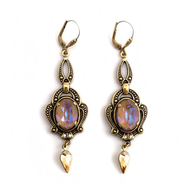 Lange bruine oorbellen met kristal