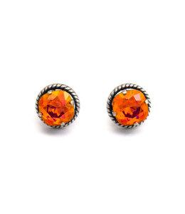 Krikor Oranje roze kristal oorstekers 12 mm