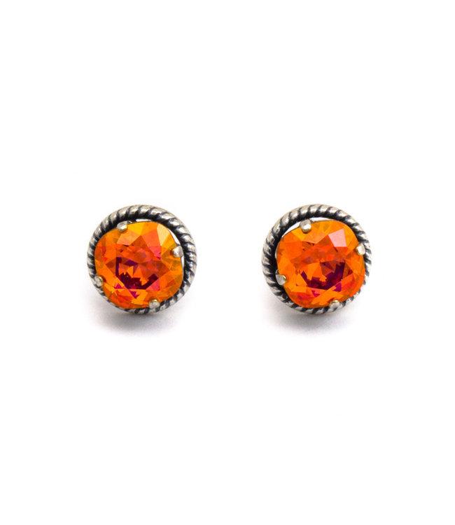 Krikor Oorstekers 12 mm met oranje roze Swarovski kristal