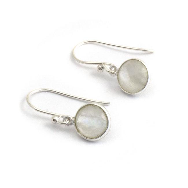 Aurora Patina Zilveren oorbellen maansteen 8 mm