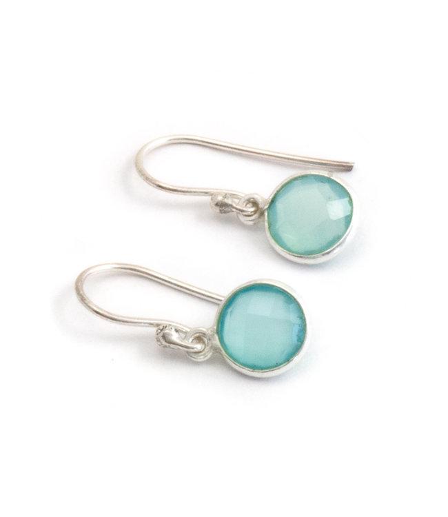 Aurora Patina Zilveren oorbellen met aqua chalcedoon 8 mm