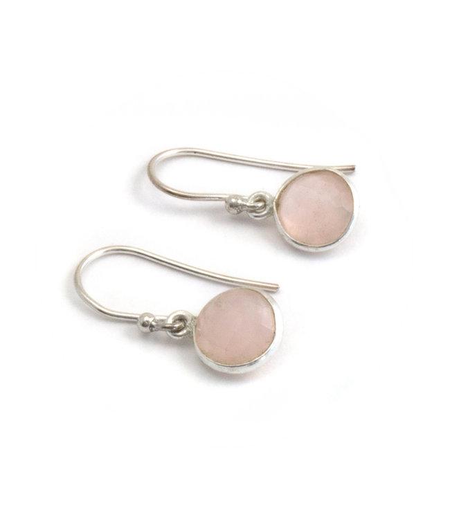 Aurora Patina Zilveren oorbellen met rozenkwarts  8 mm