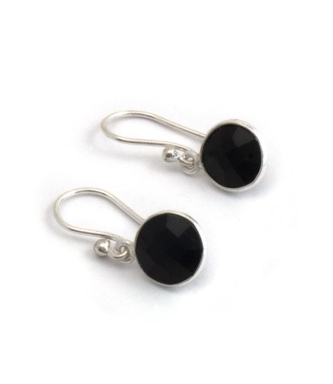 Aurora Patina Zilveren oorbellen met zwarte onyx 8 mm