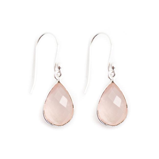 Aurora Patina Zilveren oorbellen rozenkwarts