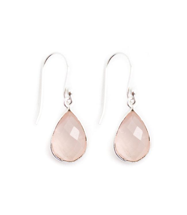 Aurora Patina Zilveren oorbellen met rozenkwarts