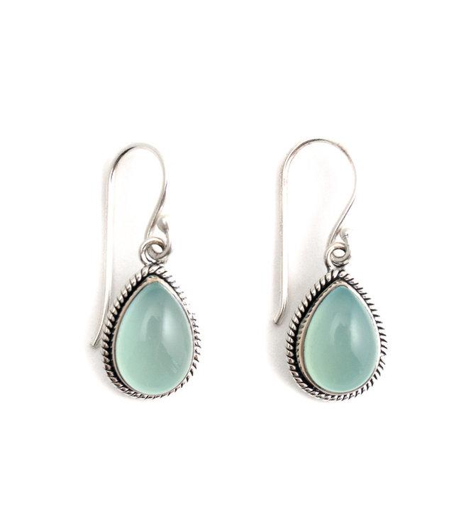 Aurora Patina Zilveren oorbellen met aqua chalcedoon