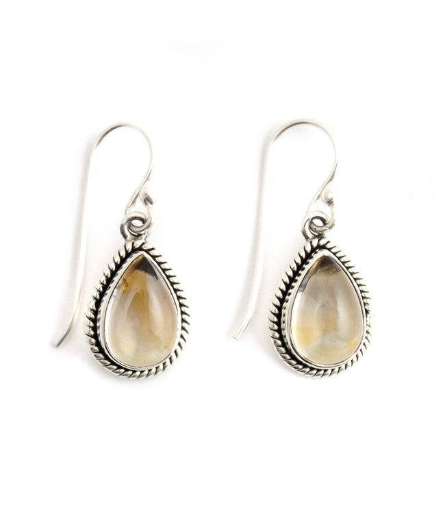 Aurora Patina Zilveren oorbellen met citrien