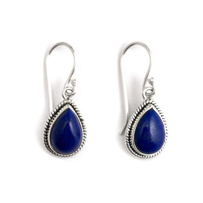 Aurora Patina Zilveren oorbellen lapis lazuli