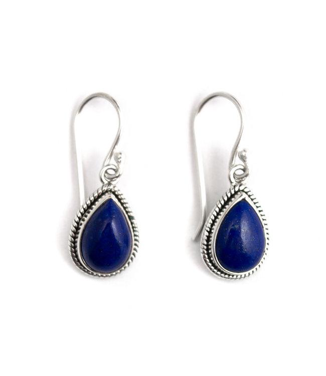 Aurora Patina Zilveren oorbellen met lapis lazuli