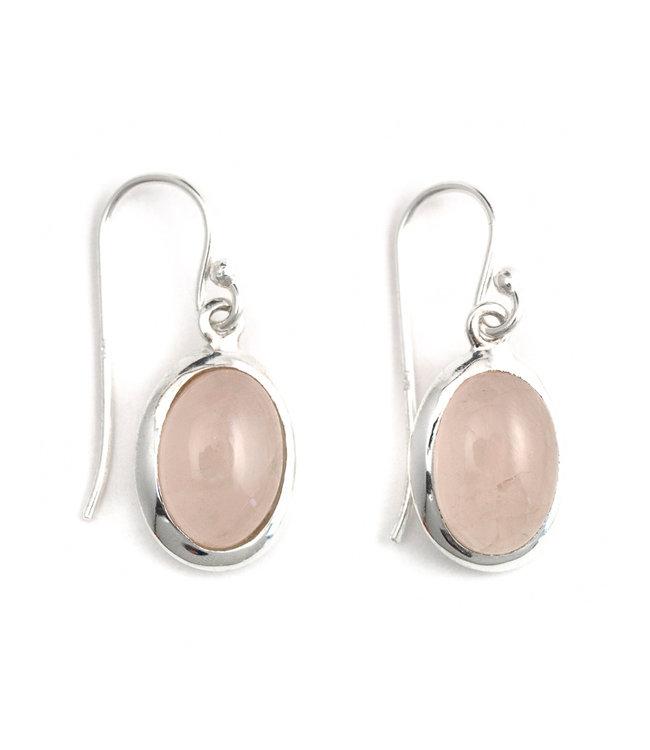 Aurora Patina Zilveren oorbellen met ovale rozenkwarts