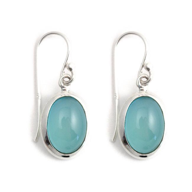Aurora Patina Zilveren oorbellen met ovale chalcedoon
