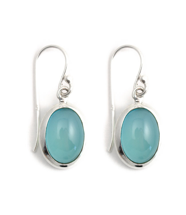 Aurora Patina Zilveren oorbellen met ovale aqua chalcedoon