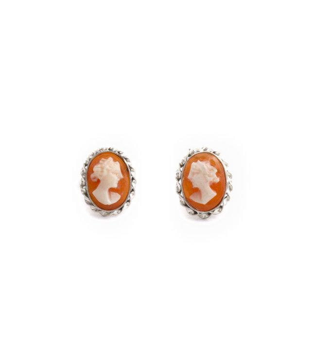 Mario Scognamiglio Zilveren camee oorbellen met stekers 10 mm