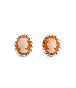 Mario Scognamiglio Zilveren camee oorbellen 12 mm