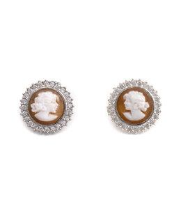 Mario Scognamiglio Zilveren camee oorbellen 15 mm