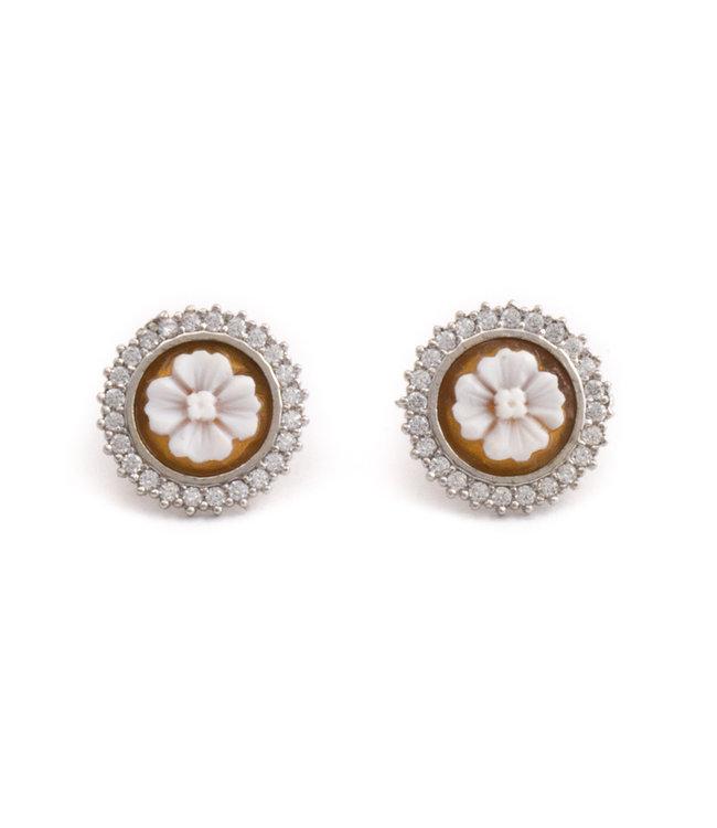 Mario Scognamiglio Zilveren camee oorbellen met bloem 15 mm
