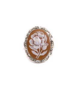 Mario Scognamiglio Sterling zilveren ring met ovale bloemen camee