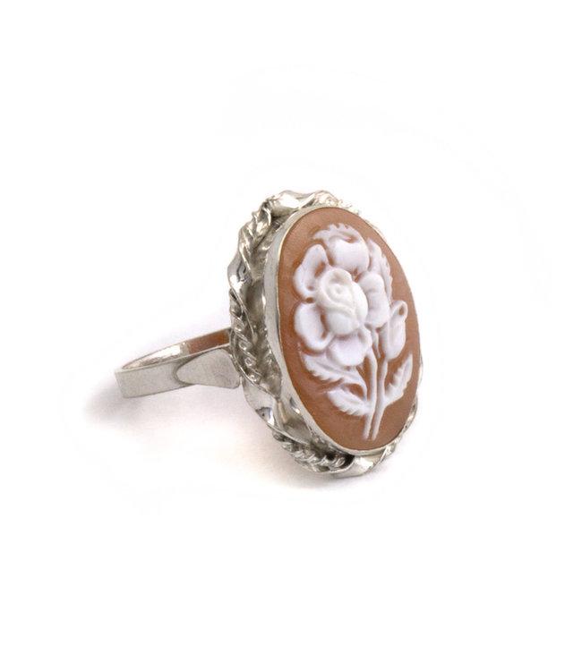 Mario Scognamiglio Sterling zilveren ring met ovale bloemen camee- maat 18,75