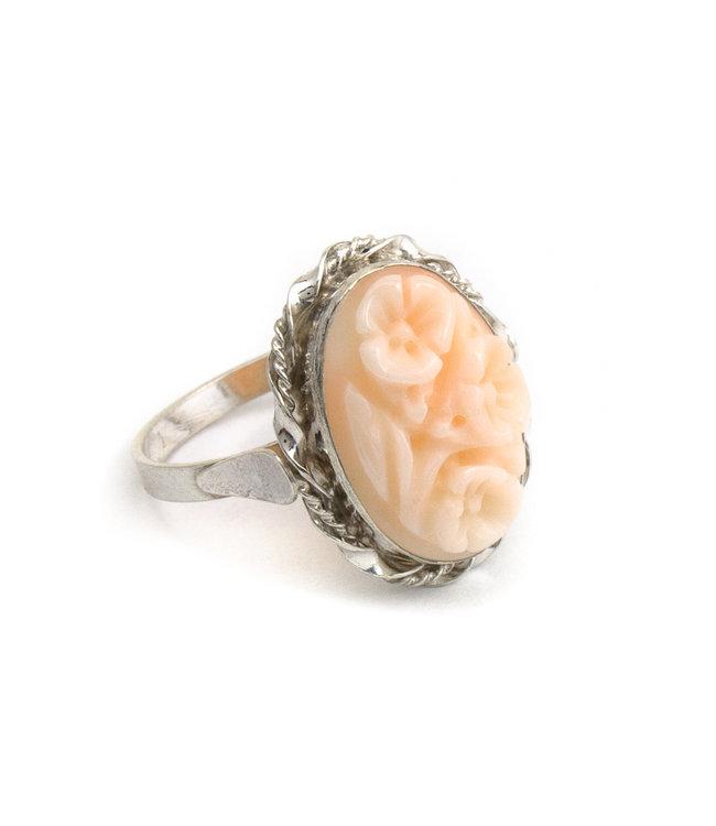 Mario Scognamiglio Sterling zilveren ring met koraal camee- maat 18,25