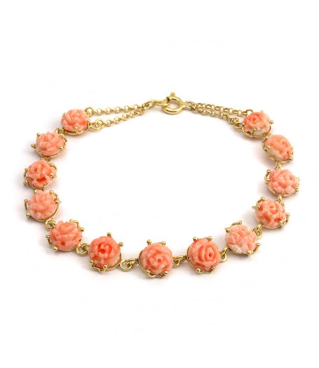 Mario Scognamiglio Vergulde armband met handgesneden koraal rozen